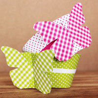 DIY Printable Patterned Butterfly Cupcake Wrapper and Topper Set – bright pink and lime green butterflies INSTANT DOWNLOAD