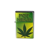 "Brand New Novelty Fun ""Pot Head"" Metal Flip-Top Lighter"
