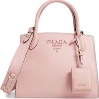 Prada Small Monochromatic Logo Leather Satchel | Nordstrom