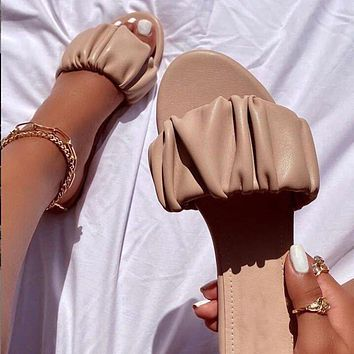 New style large size sandals solid color ladies slippers