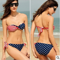 Hot New Arrival Swimsuit Summer Beach Sexy Swimwear Bra Flag Bikini [10240447117]