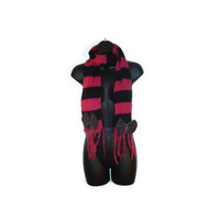 Upcycled Black and Pink Striped Lightweight Ladies Long Winter Scarf with Tulle Covered Black Felt Bows