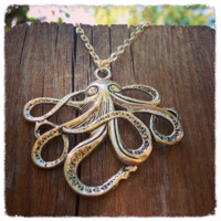 Handmade Antique Silver Octopus Necklace