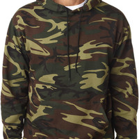 code v adult camouflage pullover hooded sweatshirt with pouch pocket - green woodland (m)
