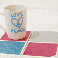Glam Tile Coasters  in Pink, Blue, and Silver No-Shed Glitter Theme with Foamed Backs (4)