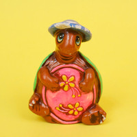 Vintage Hippie Turtle Piggy Bank w Blue Hat and Neon Green Shell