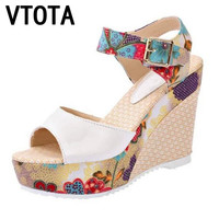 VTOTA Summer Shoes Women Sandals Sweet high-heeled Shoes Wedges Fish Head Women Sandals Waterproof Platform Shoes Women 326