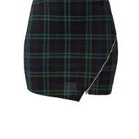 Black Check Zip Wrap Mini Skirt