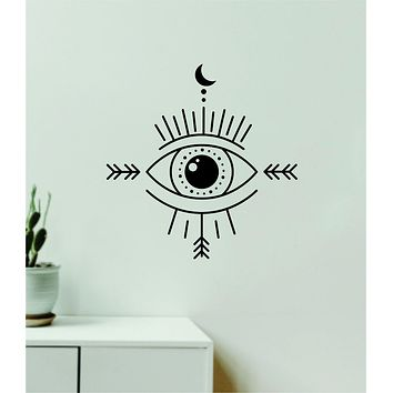 Moon Eye V4 Decal Sticker Wall Vinyl Art Wall Bedroom Room Home Decor Teen Inspirational Girls Yoga Zen Meditate Namaste Tattoo Boho All Seeing