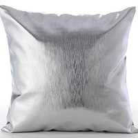 "Designer Silver Pillows Cover, Modern Solid Pillow Cover, 12""x12"" Pillow Covers, Faux Leather Square Decorative Pillows Cover, Metallic Silver Pillows Cover - Silver Leather Strokes"