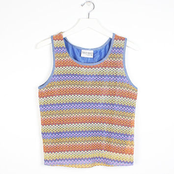 Vintage 90s Top Rainbow Zig Zag Knit Tank Blue Lined Sleeveless 1990s Shirt Woven Knit Mesh Y2K Shiny Lined Tee Rave Club Kid S M Medium