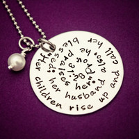 Proverbs 31:28 - Blessed Mommy Necklace - Stainless Steel Hand Stamped Jewelry - Bible Scripture Pendant - Gift for Mom