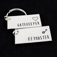 Gatekeeper and Keymaster Keychain Set - Ghostbusters Couples Accessories - Aluminum Key Chains