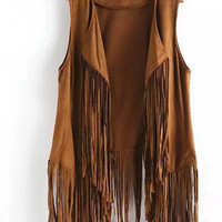2015 autumn winter new fringed tassels faux suede sleeveless asymmetrical vest jacket