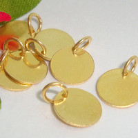 24K Gold Vermeil on Sterling Silver Disc with a 5.5mm closed jump ring, Stamping, Pendant, 12 pcs, 8mm, 24gauge