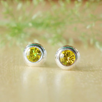 Tiny Amber Crystal Rhinestones Silver Stud Earring - 92.5% Sterling Silver Earrings Charm Jewelry - Gift under 10