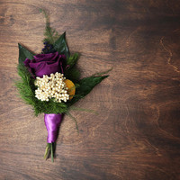 Eternal rose Preserved flower wedding boutonniere ultraviolet purple green yellow craspedia vintage style greenery boho buttonhole for groom