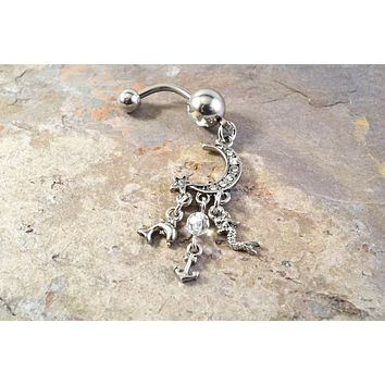 Moon Belly Button Jewelry Ring with Mermaid Dolphin Anchor