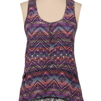 Lace Back High-Low Tiered Tank - Multi