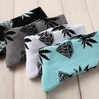 Harajuk Diamond Weed Socks For Women Men Cotton Socks Hip Hop Socks