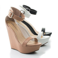Vivi21 Open Toe Ankle Buckle Cuff Platform Wedge Sandals