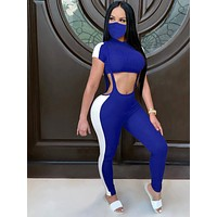 Striking Blue Colorblock Overalls Two-Piece With Mask Luscious Curvy