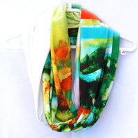 Multicolor Circle Scarf. Cowl Scarf.  Women Accessories. Loop Scarf, Tube Scarf