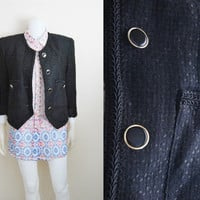 Vintage Womens Black Rope Trimmed Wool Blazer Coat Jacket Fall Layer Trent