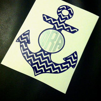 Anchor Monogram Car Decal Monogram Anchor Decal Car Monogram Decal Monogram Anchor Sticker Anchor Monogram Sticker Chevron Monogram Decal