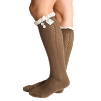 Brown Laced Boot Socks
