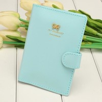 Women Fashion Synthetic Leather Button Candy Color Folded Travel Journey Passport ID Card Holder