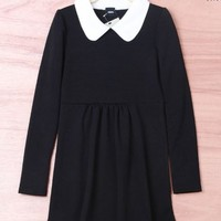 Black Peter Pan Collar Long Sleeve Casual Womens Mini Dresses Fashion Top 1DR