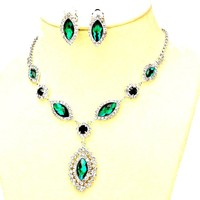 Affordable Wedding Jewelry Emerald Green Clear Rhinestone Teardrop Cut Out Clip on Earrings Necklace Set