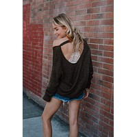 Cool Breeze Open Back Sweater - Olive