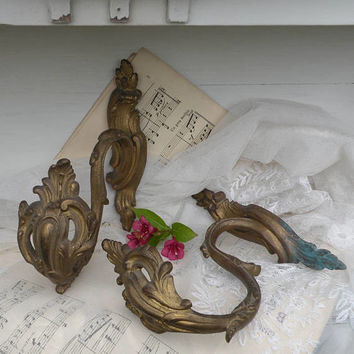 French antique brass bronze ormolu curtain tie backs, shabby chic, chateau chic, French country, housewarming, Paris apartment, coat hooks