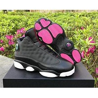Bunchsun Nike Air Jordan 13 AJ13 Fashion Retro Men Women Sport Basketball Shoes Black&Rose Red