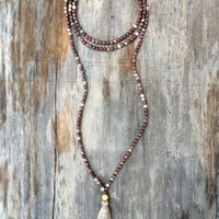 Long Beaded Double Wrap Choker Tassel Necklace with Maroon Artistic Jasper Beads and Gold Bead