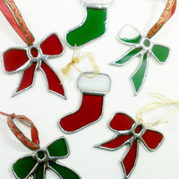 Stained Glass Christmas Ornament, Red Christmas Bow, Free Fast Shipping