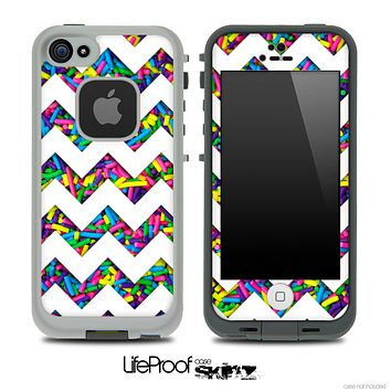 Neon Bright Sprinkles and White Chevron Pattern Skin for the iPhone 5 or 4/4s LifeProof Case