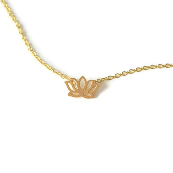 Mini Golden Lotus Necklace - CLEARANCE