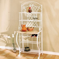 Transitional Baker's Rack 5-Bottle Wine Storage Kitchen Furniture White Finish