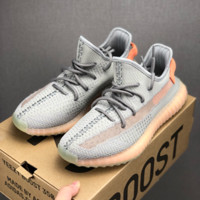 HCXX 19July 218 Adidas YEEZY 350V2 BOOST 3M Reflecive Hollow Breathable Running Shoes grey orange