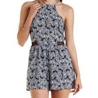 Black Combo Lace Cut-Out Tropical Print Romper by Charlotte Russe