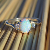 Silver Lab Opal Ring, White Opal Ring, Opal Engagement Ring, Promise Ring, Anniversary Gift For Her, October Birthstone
