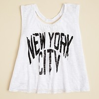 Vintage Havana Girls' NYC Print Cutout Tank - Sizes S-XL