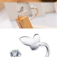 Chic Fashion 925 Silver Plated Rhinestones Butterfly Opening Adjustable Valentine's Day Gift New = 1706037124