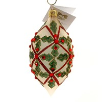 Golden Bell Collection TEARDROP WITH HOLLY Ornament Ruby Colored Stones Ola078