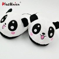 indoor winter panda slippers flat furry fluffy rihanna slides fenty fur flip flops shoes fuzzy house women faux plush mules s129
