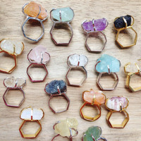 White Plated Ring with rough Rose Quartz, Ruby, Blue Sapphire, Green and Blue Fluorite, Blue Aquamarine, White Topaz, Amethyst