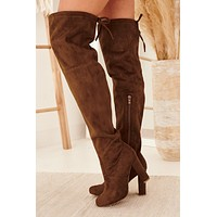 With Or Without You Suede Thigh High Boots (Chestnut)